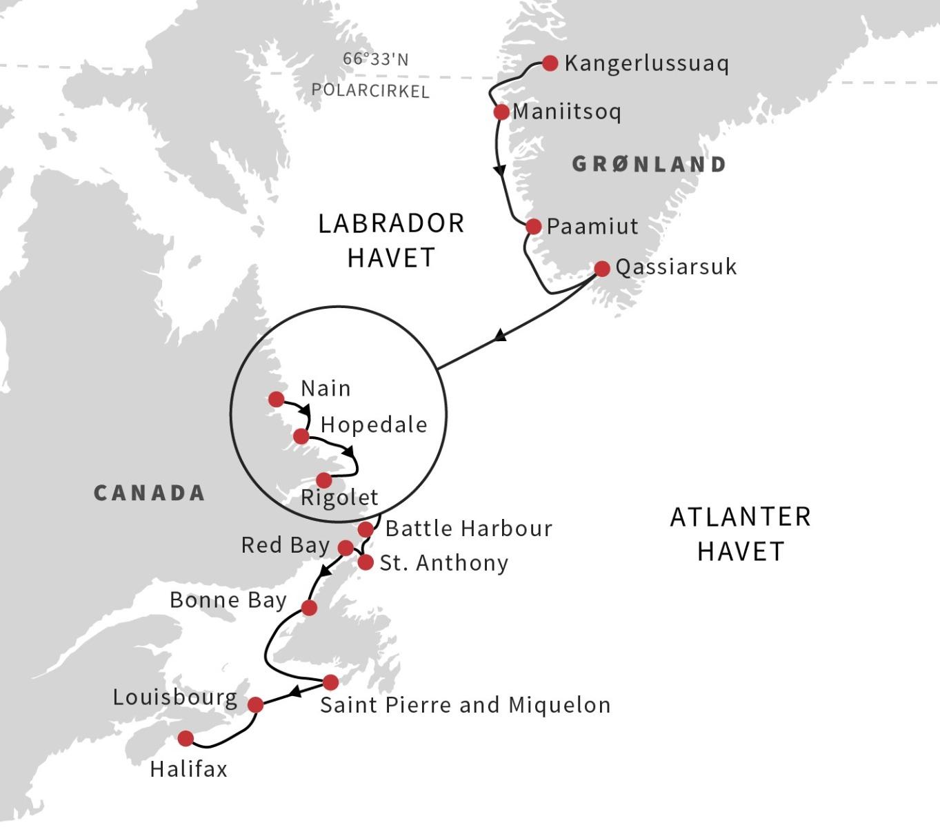 Ekspeditionsruten Grønland til Canada