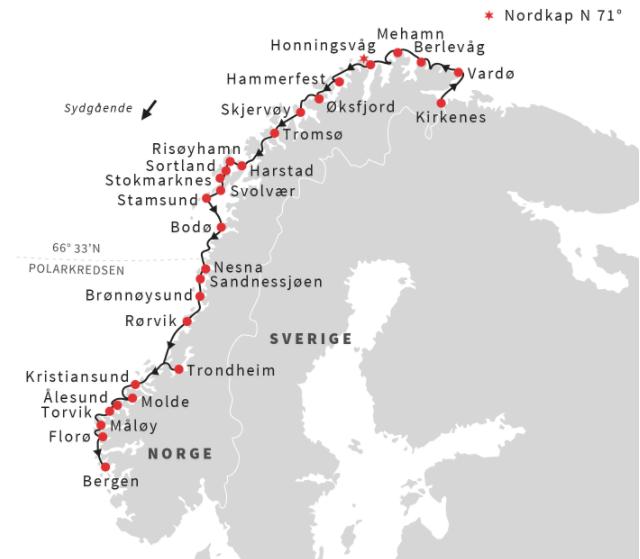 Fra Kirkenes til Bergen på 6 dage med Hurtigruten
